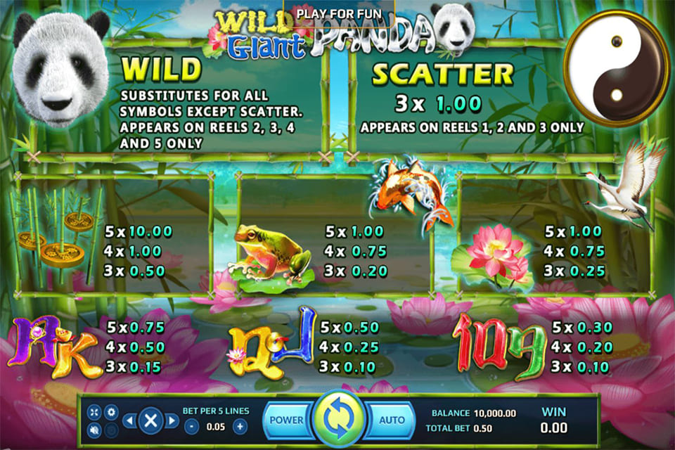 Wild Giant Panda Paytable